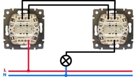 Схема проходного выключателя