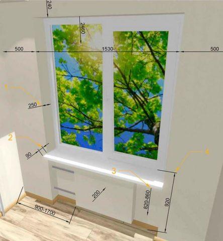 Увеличение высоты установки окна