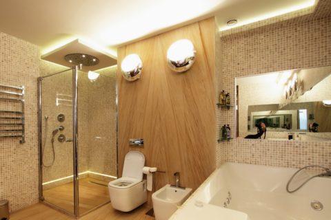 Вариант дополнительного освещения ванной комнаты