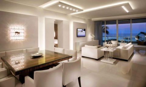 Зональное освещение гостиной