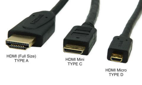Основные типы разъемов для кабеля HDMI