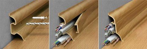 Монтаж плинтуса с проводкой занимает гораздо меньше времени, чем прокладка проводов в штробах