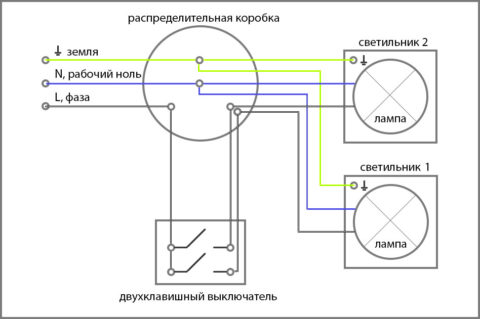 Подключение выключателей в распределительной коробке