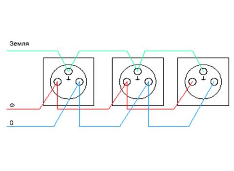 Схема питания нескольких розеток от одного провода