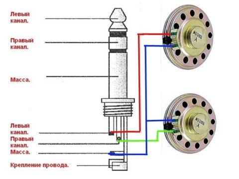 Схема подключения наушников