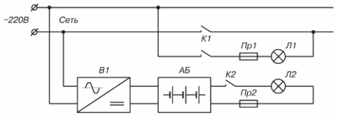 Схема постоянного питания аварийного освещения от батареи