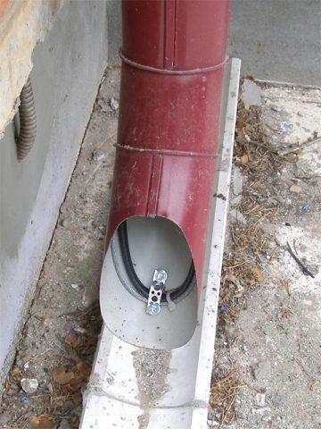 Водосток с кабельным обогревом
