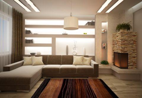 Гостиная: норма освещенности — 150 Лк (люкс, или люменов на квадратный метр)