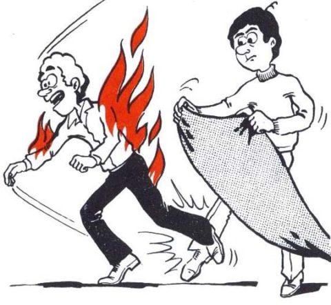 Потушить одежду и не дать человеку бегать