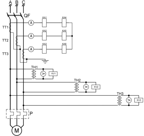 Релейная схема защит электродвигателя