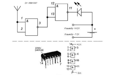 Схема искателя проводки