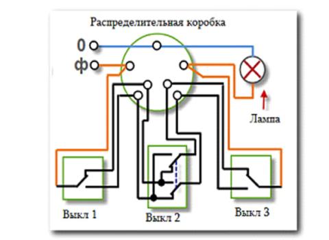 Схема подключения проходных и перекрестных выключателей