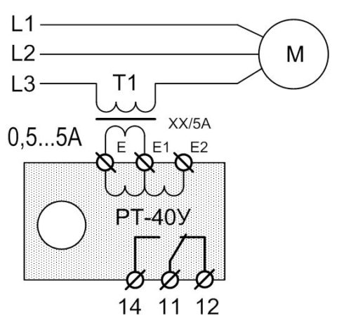 Схема подключения реле тока через трансформатор тока