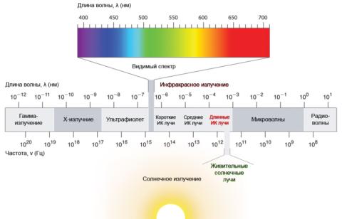 Структура солнечного спектра с указанием длины волны. Как видите, солнце почти не излучает в коротковолновом ИК-диапазоне