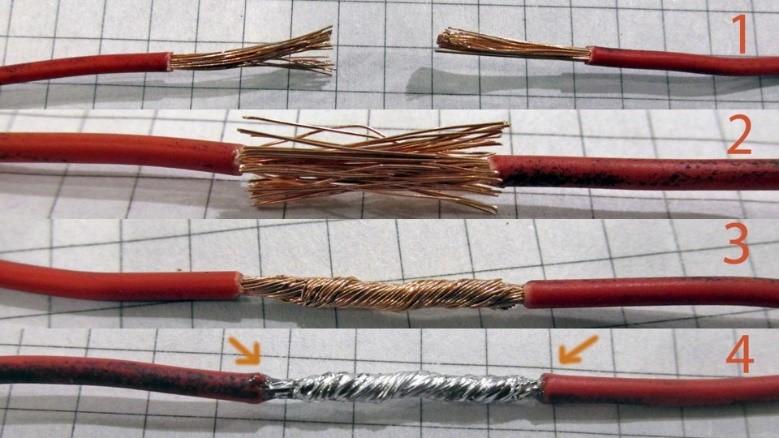 Соединение пайкой многожильных проводов