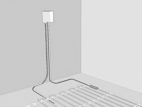 Датчик укладывается на минимальном расстоянии от терморегулятора, что сильно упростит его замену при неисправности