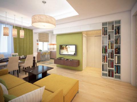 Гостиная-столовая: в комнате присутствует центральный источник света и зональное освещение над столом