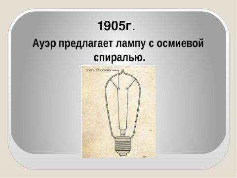 Использование вольфрама началось в 1905 году