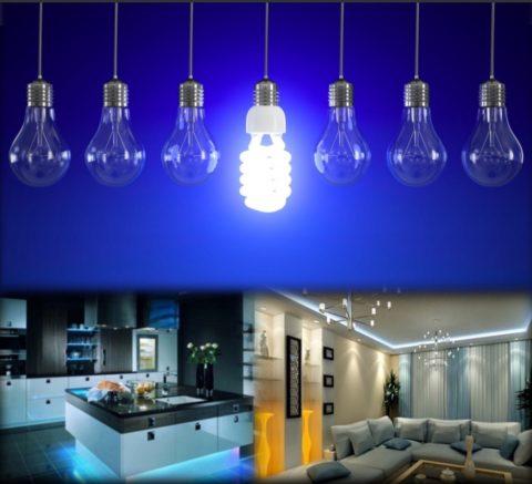 Люминесцентная лампа работает намного дольше ламп накаливания