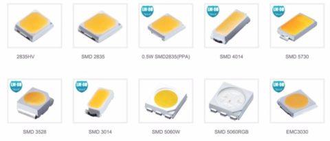 Наиболее востребованные разновидности светодиодов