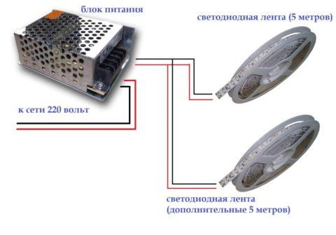 Пятиметровые ленты подключаются к БП параллельно