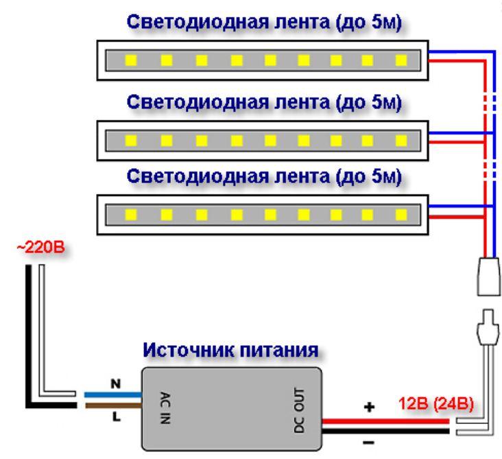 Несколько источников света подключаются к БП только параллельно
