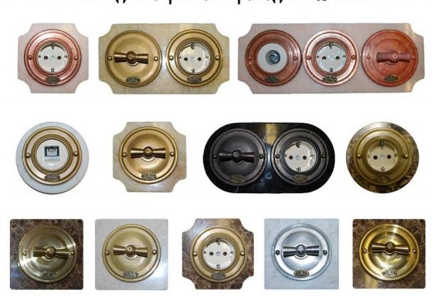 Современные производители предлагают множество вариантов розеток и выключателей под старину, даже для телефонных и других кабелей