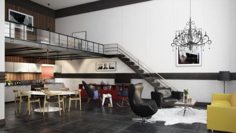 Интерьер помещения в стиле «Лофт», нарисованный с помощью компьютерной графики