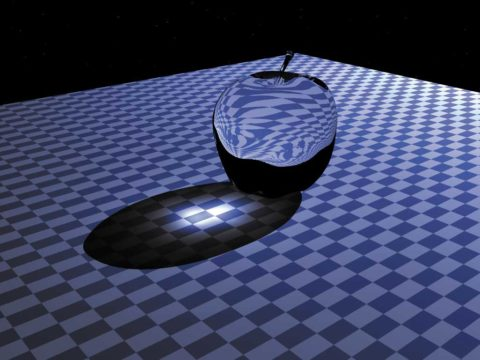 Каустик эффект на примере прозрачного стеклянного яблока