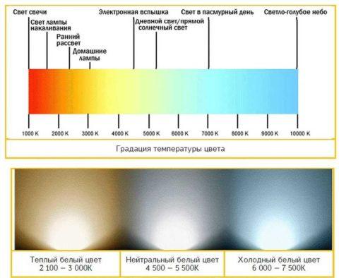 На фото представлена градуировка по температуре света