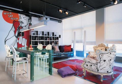 Пример дизайна интерьера в стиле поп-арт