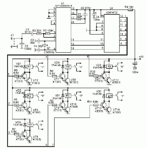 Схема блока управления для розетки с GSM управлением