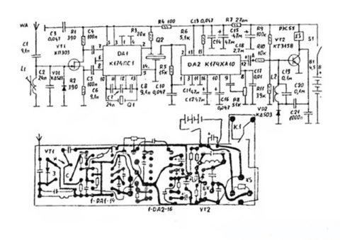 Схема и печатная плата приемника c наименованиями и номиналами деталей.