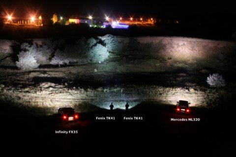 Сравнение способностей светодиодных ручных фонарей с автомобильными фарами