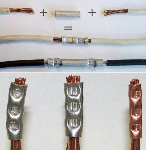 Варианты прессовки проводников