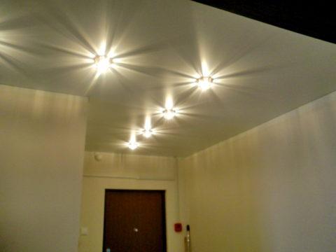 Точечные светильники по площади комнаты