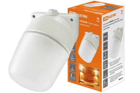 На фото матовый светильник для бани