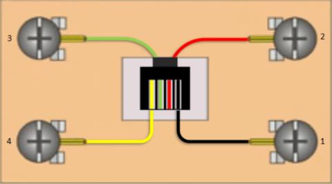 Расположение контактов в телефонной розетке
