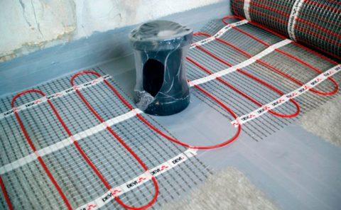 Электрический пол под плитку: Обходим места установки сантехники и мебели