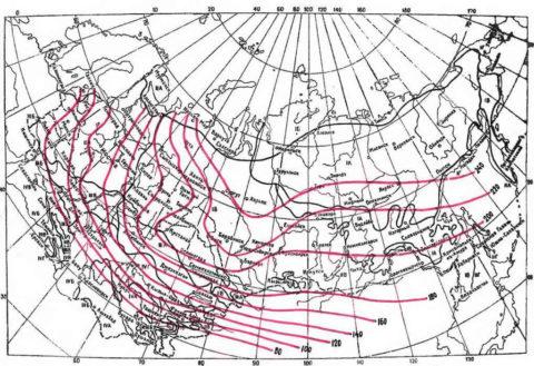Глубины промерзания в разных регионах РФ