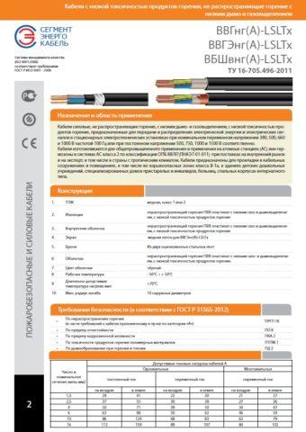 На фото характеристики кабеля ВВГ