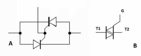 Аналог симистора на двух тиристорах