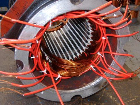 Перемотка статора мощного двигателя