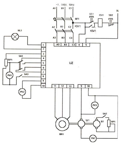 Принципиальная электрическая схема управления электродвигателями постоянного тока с реверсом