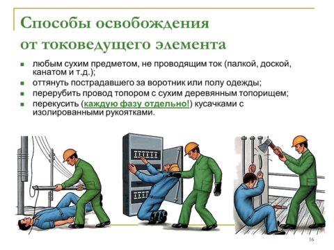 Как убрать человека от провода под напряжением