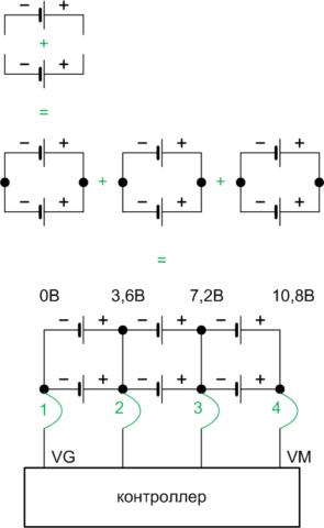 Схеме подключения аккумуляторов к контроллеру