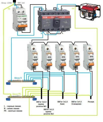 Схема подключения реверсивного рубильника для переключения питания между основной сетью и автономным источником питания