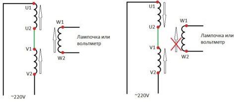 ЭДС при различных вариантах соединения обмоток электродвигателя