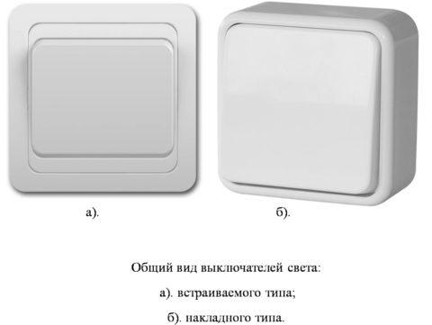 Разница между накладными и встраиваемыми выключателями