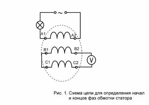 Схема определения начала и конца обмоток электродвигателя